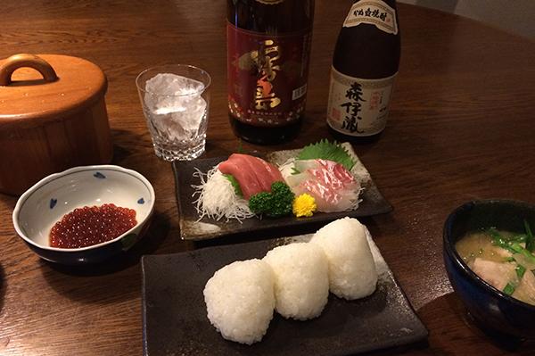 新米と焼酎の晩ご飯