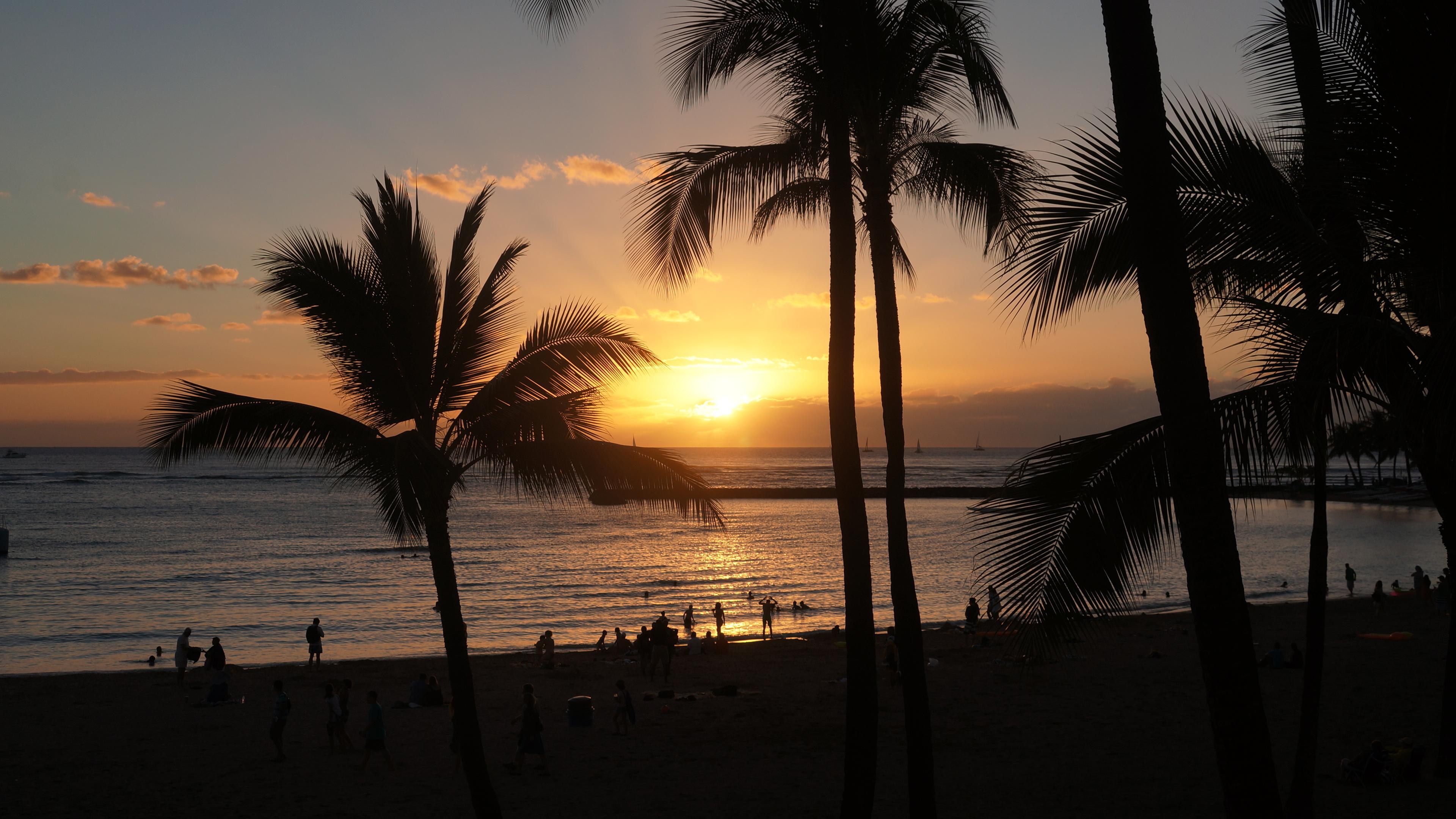 2013年最後のハワイの夕日の壁紙 世界一周旅日記